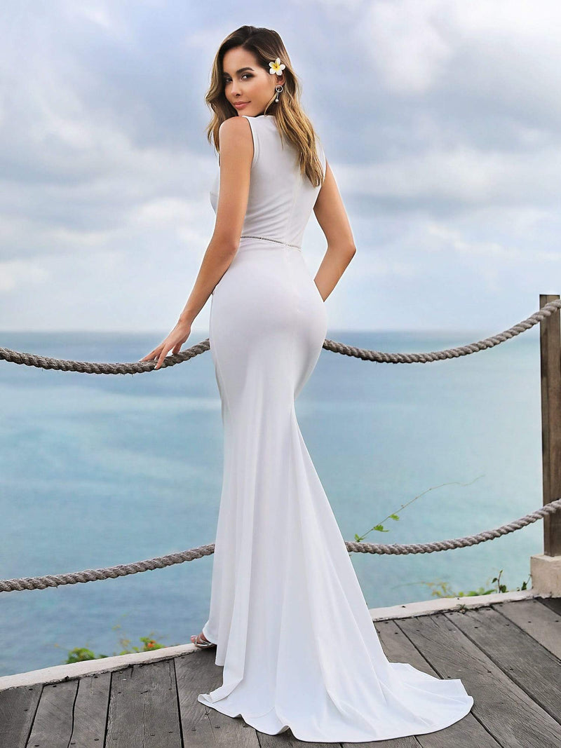 Sleeveless Round Neck Fishtail Evening Dress-Cream 2