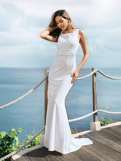 Sleeveless Round Neck Fishtail Evening Dress