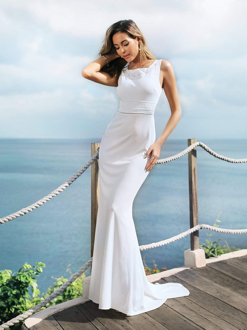 Sleeveless Round Neck Fishtail Evening Dress-Cream 1