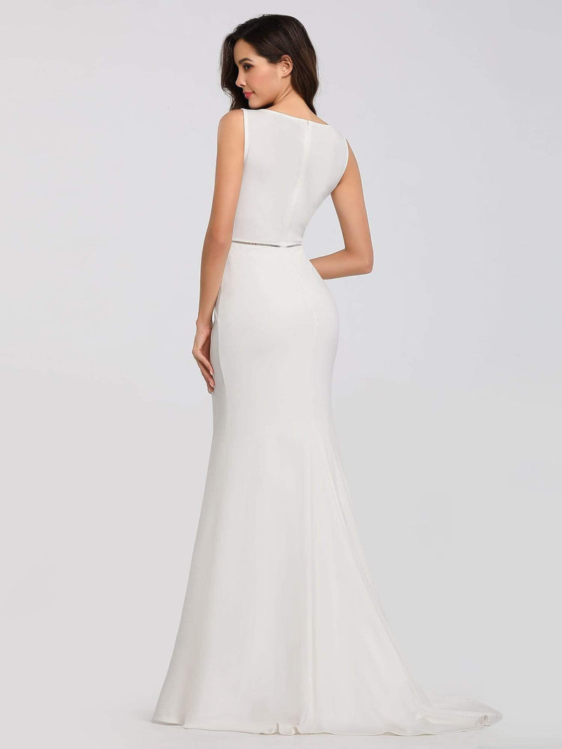 Sleeveless Round Neck Fishtail Evening Dress-Cream 4