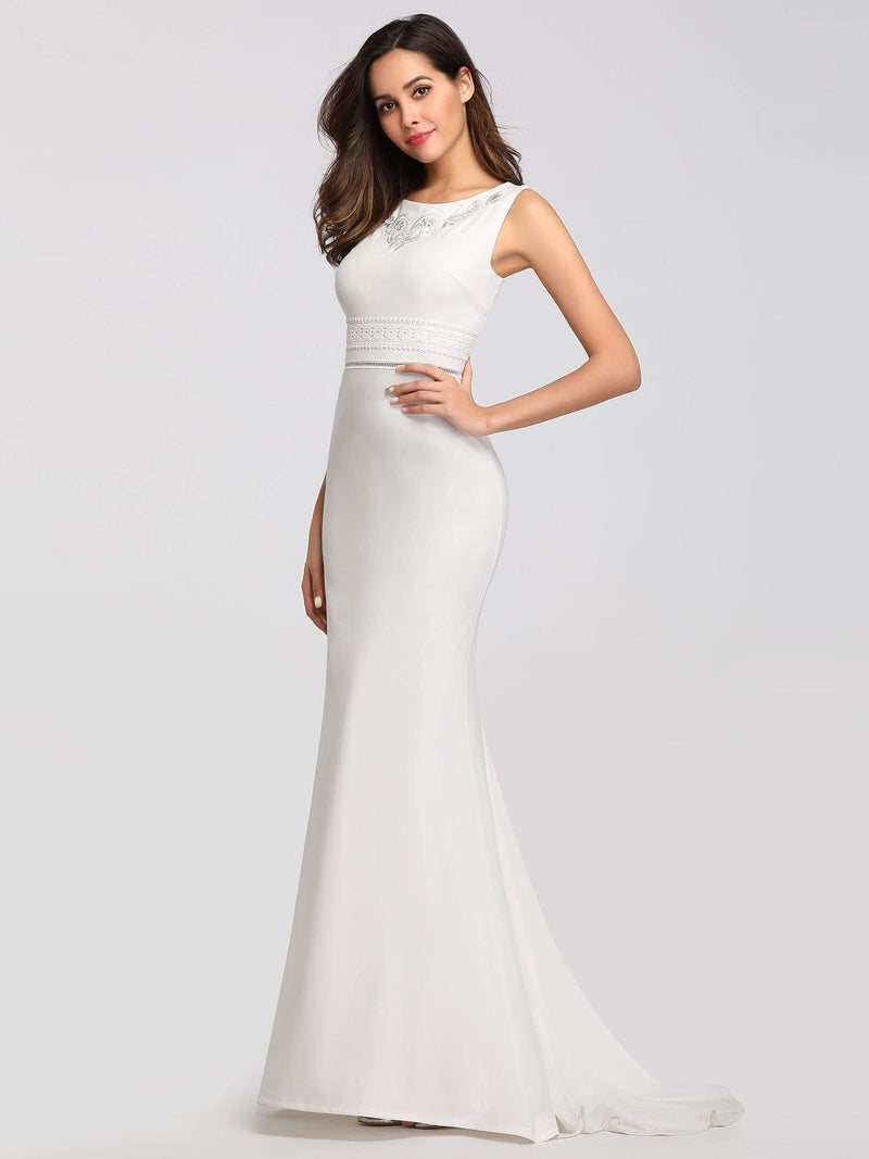 Sleeveless Round Neck Fishtail Evening Dress-Cream 5