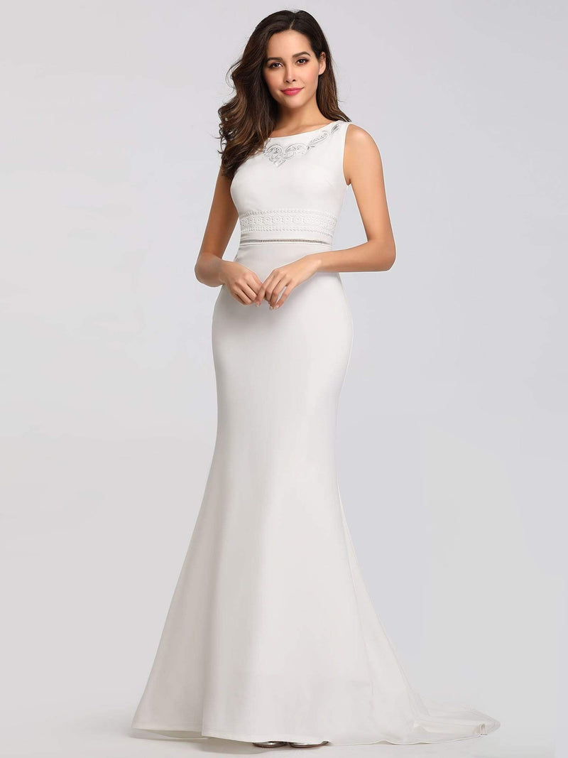 Sleeveless Round Neck Fishtail Evening Dress-Cream 6