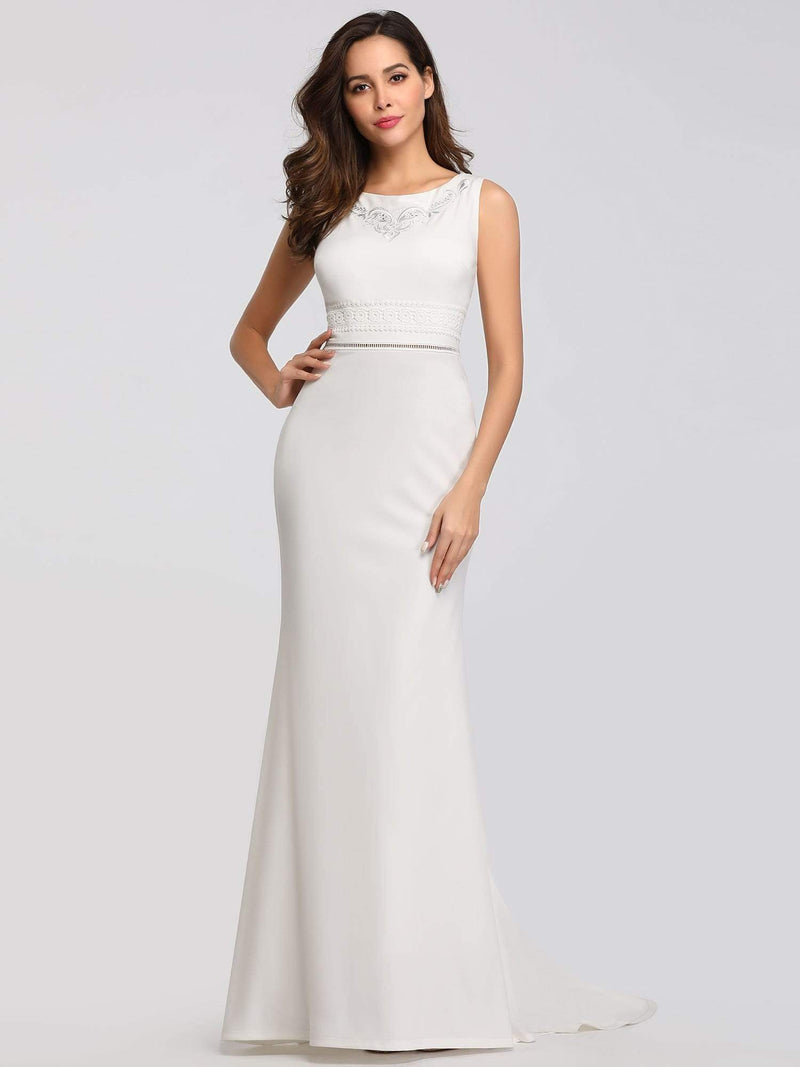 Sleeveless Round Neck Fishtail Evening Dress-Cream 3