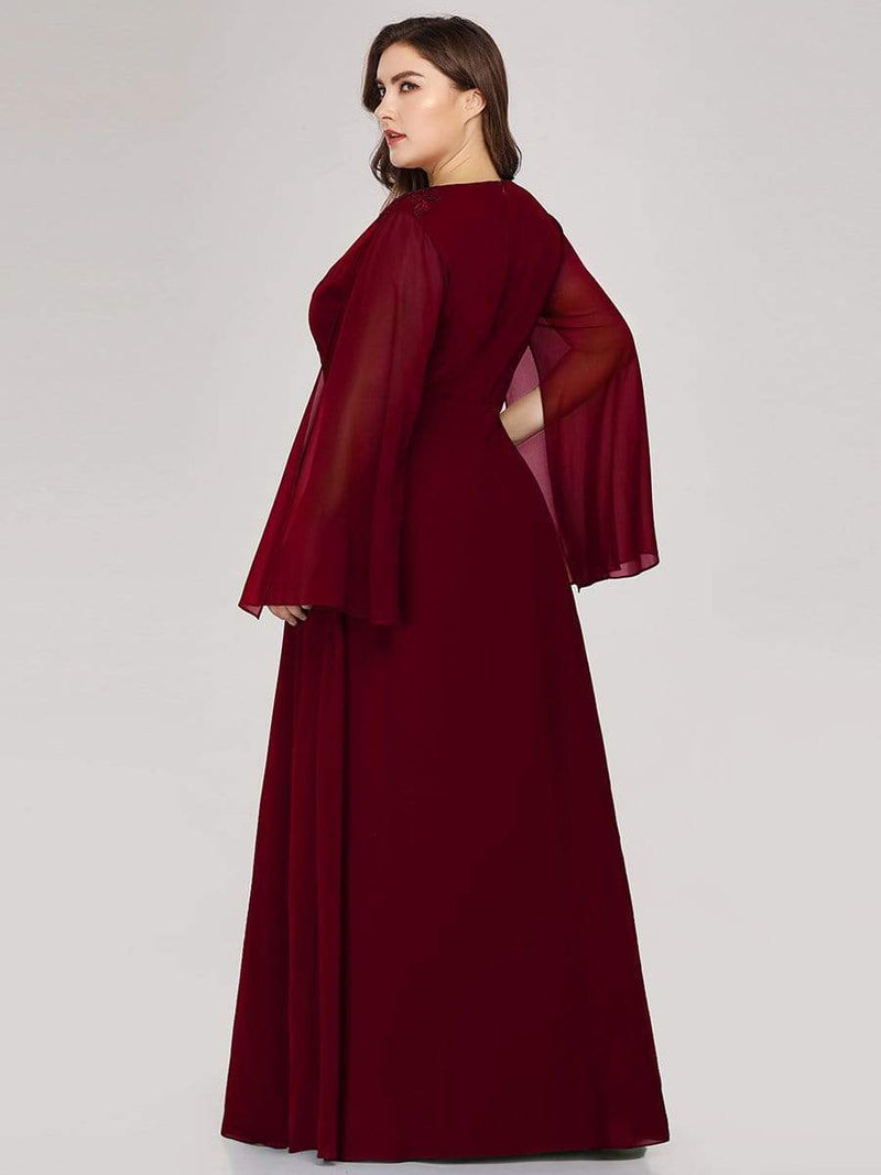 Plus Size V Neck Evening Dress With Long Sleeves-Burgundy 2