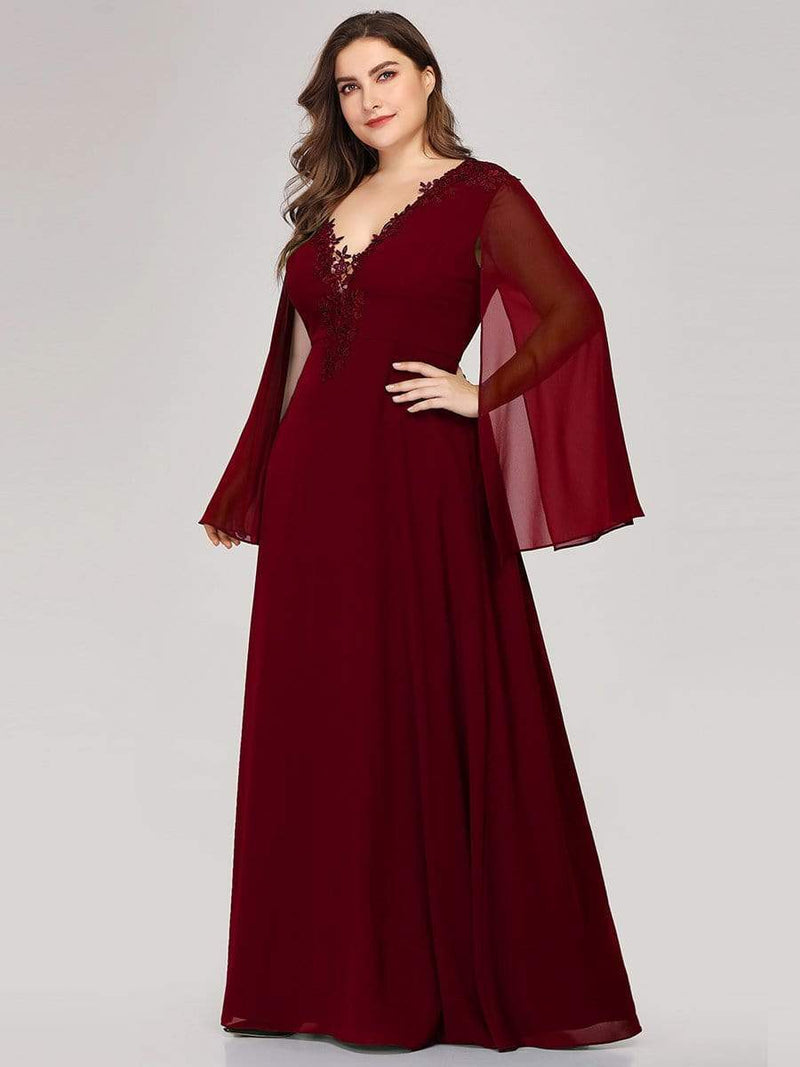 Plus Size V Neck Evening Dress With Long Sleeves-Burgundy 3