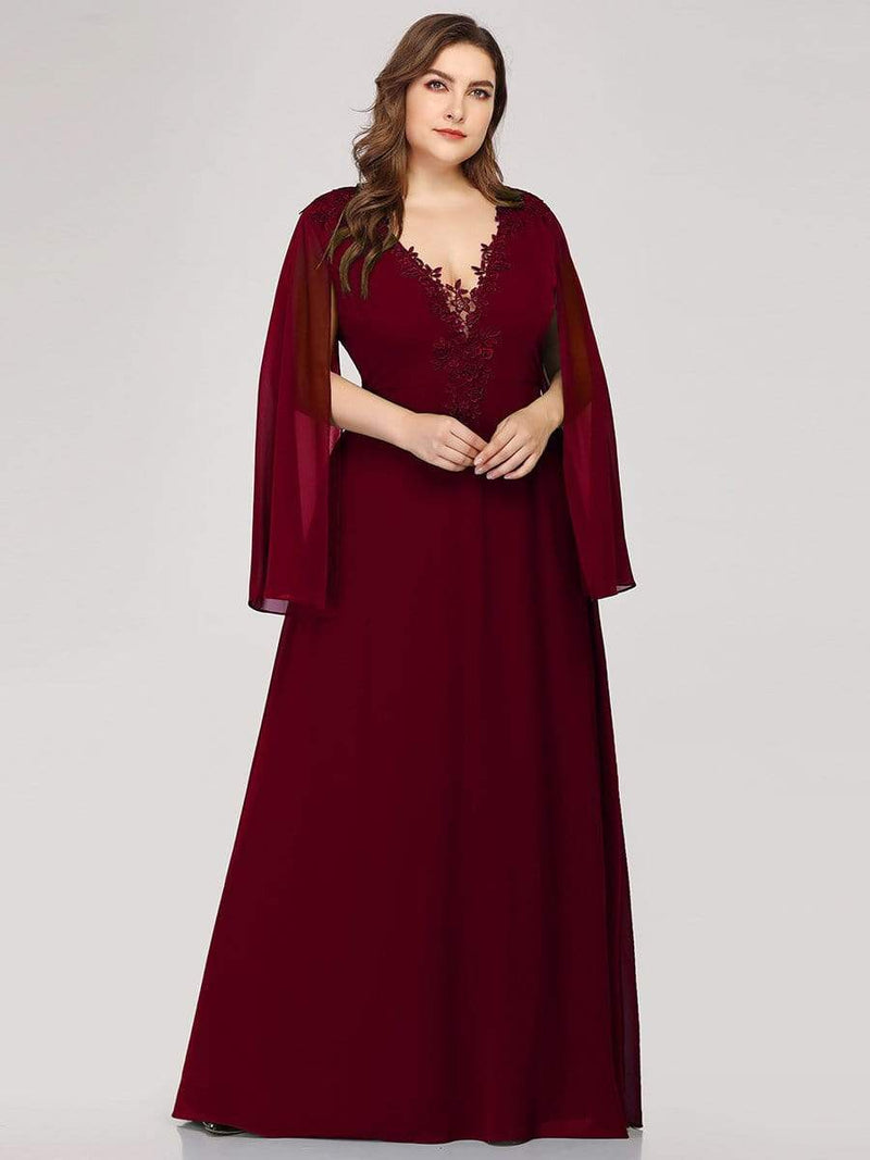 Plus Size V Neck Evening Dress With Long Sleeves-Burgundy 4
