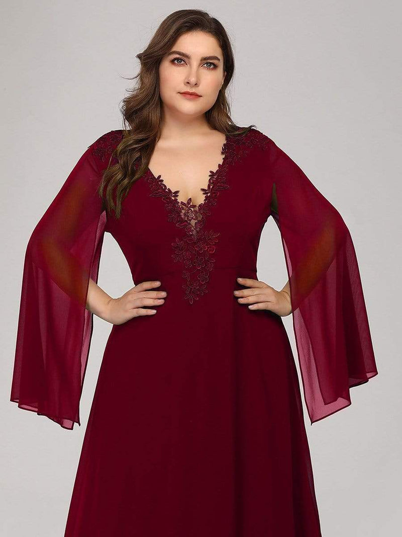Plus Size V Neck Evening Dress With Long Sleeves-Burgundy 5