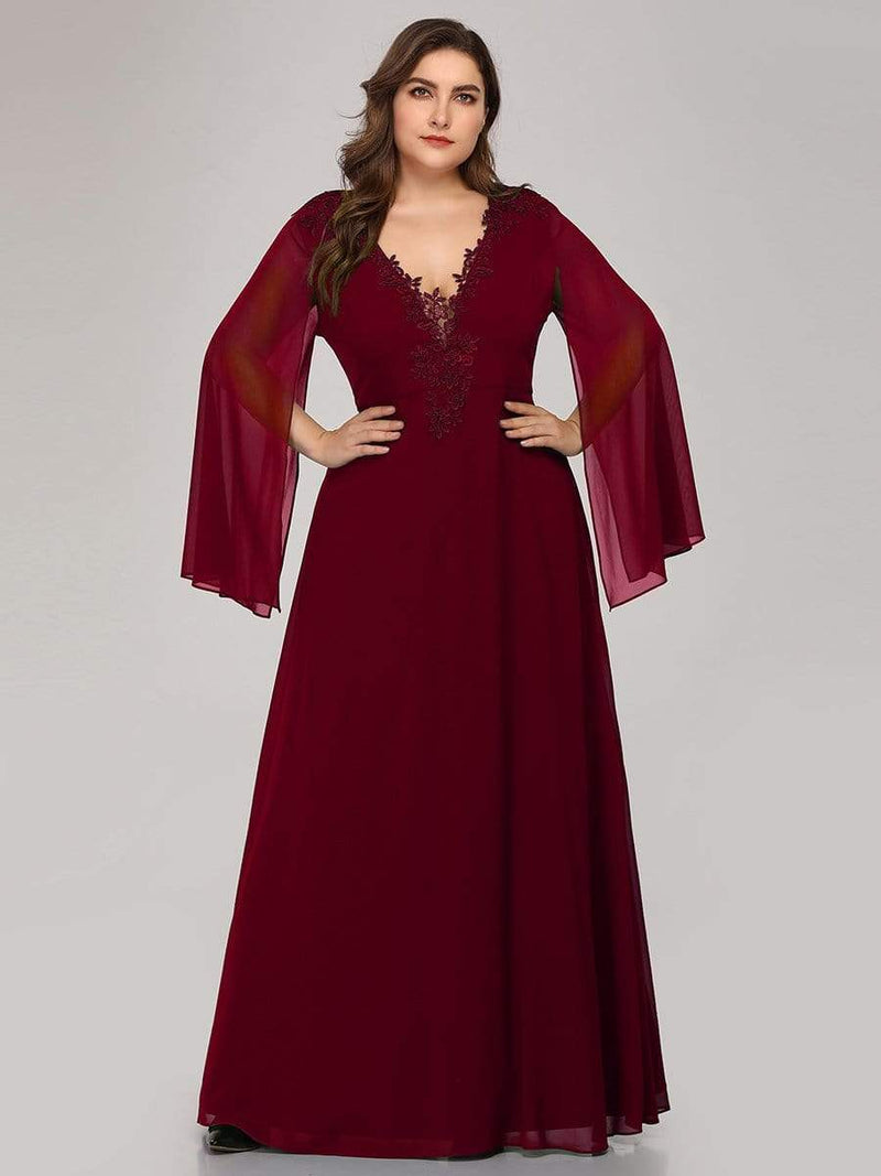 Plus Size V Neck Evening Dress With Long Sleeves-Burgundy 1