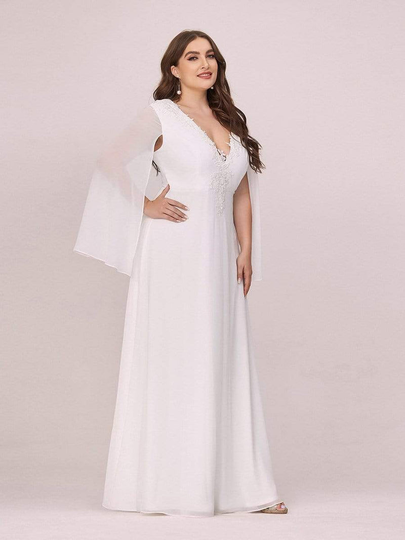 Plus Size V Neck Evening Dress With Long Sleeves-Cream 3