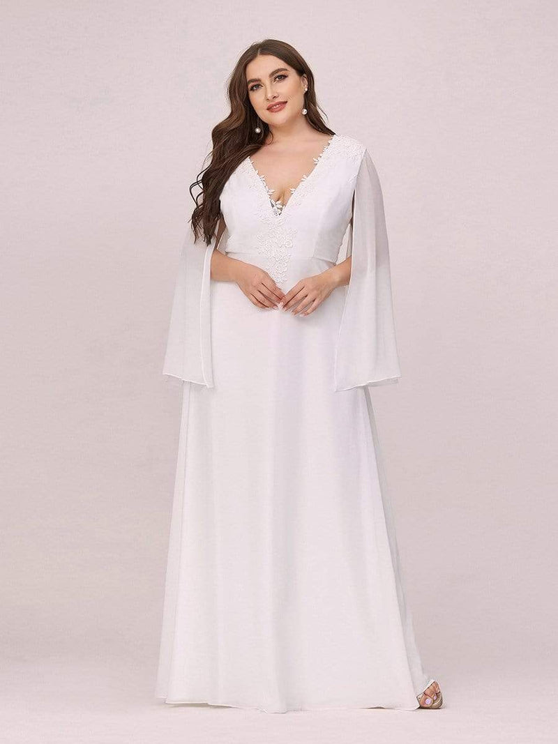 Plus Size V Neck Evening Dress With Long Sleeves-Cream 4