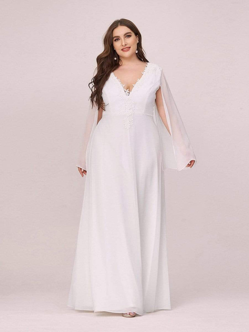 Plus Size V Neck Evening Dress With Long Sleeves-Cream 1