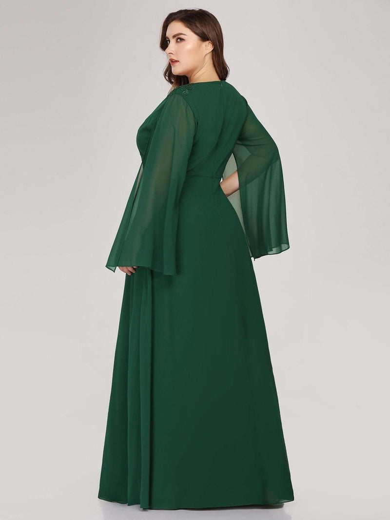 Plus Size V Neck Evening Dress With Long Sleeves-Dark Green 2