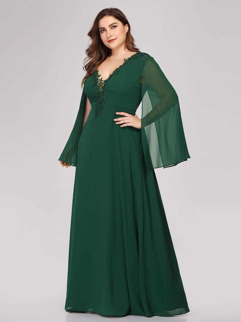 Plus Size V Neck Evening Dress With Long Sleeves-Dark Green 3
