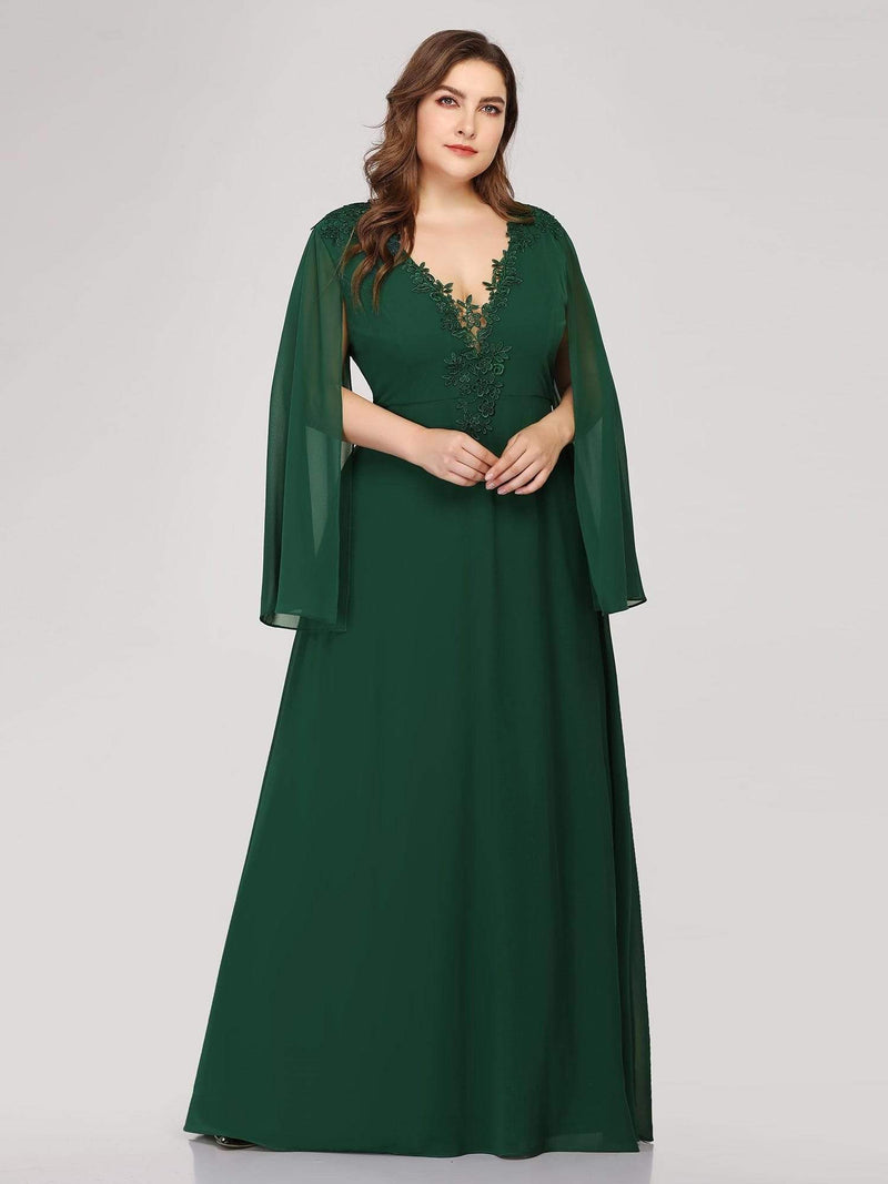 Plus Size V Neck Evening Dress With Long Sleeves-Dark Green 4