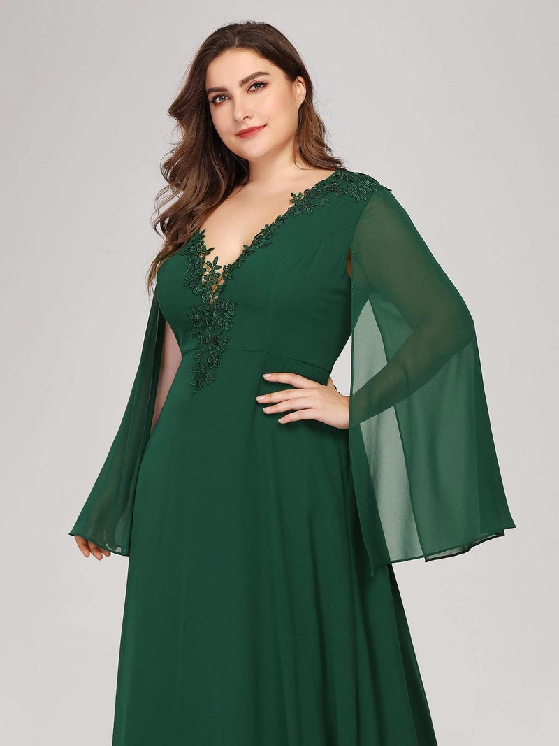 Plus Size V Neck Evening Dress With Long Sleeves-Dark Green 5