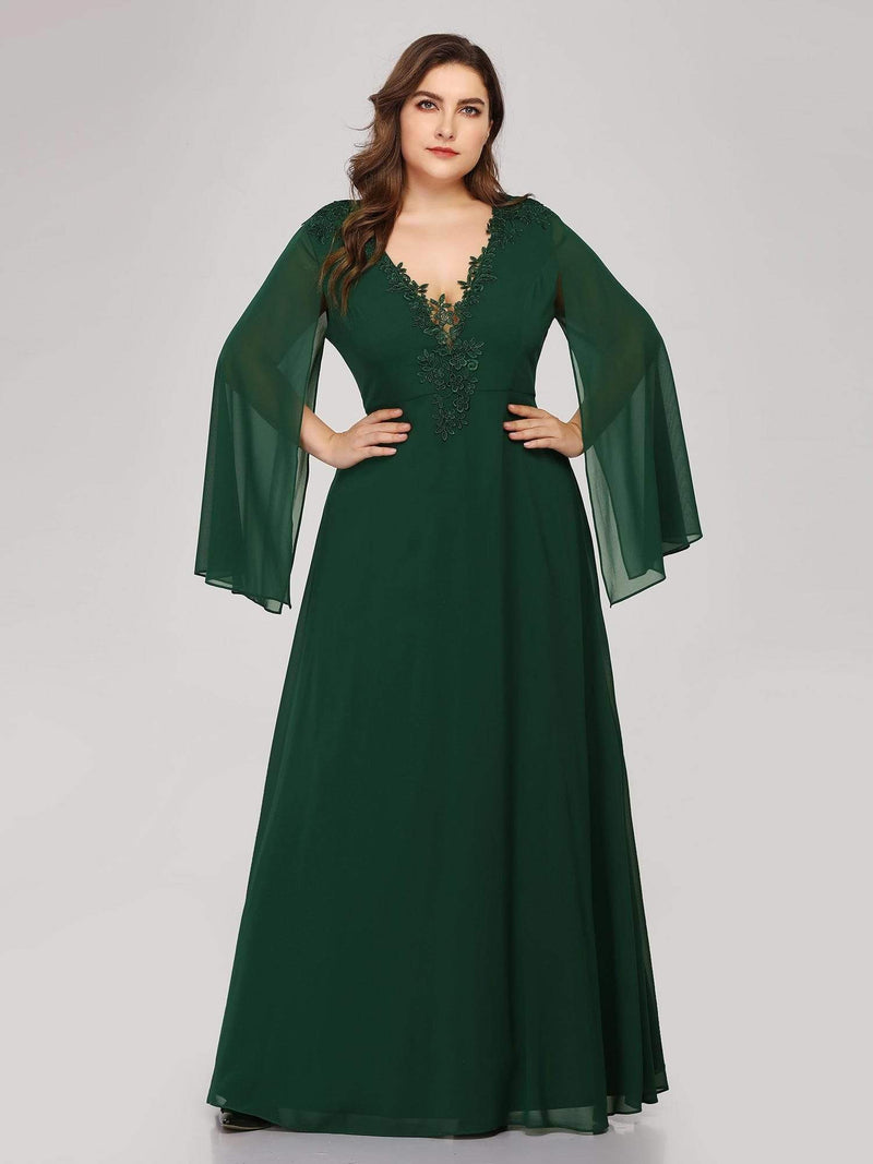 Plus Size V Neck Evening Dress With Long Sleeves-Dark Green 1