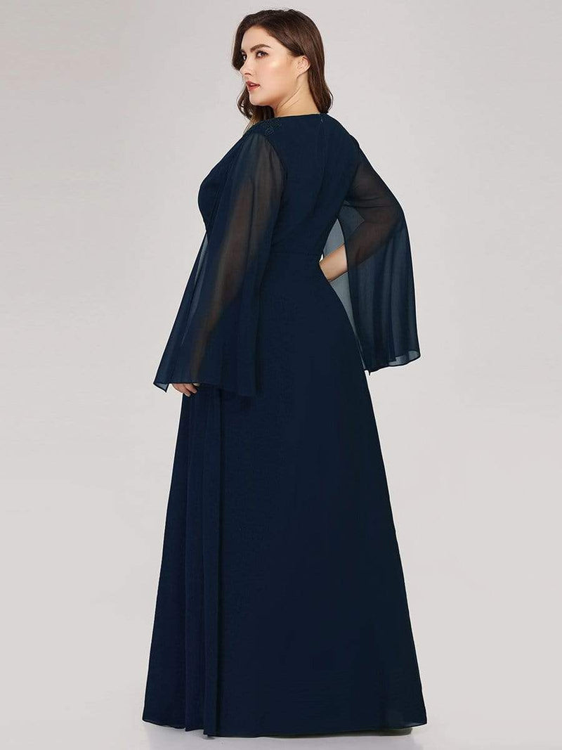 Plus Size V Neck Evening Dress With Long Sleeves-Navy Blue 2