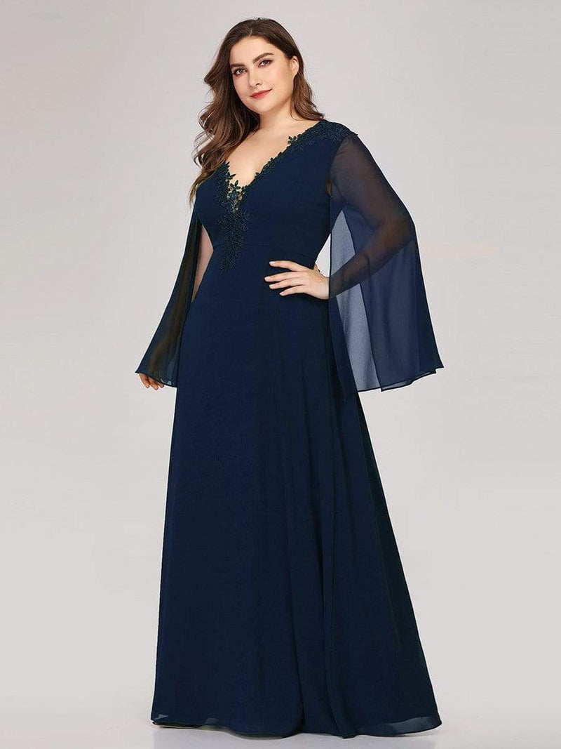 Plus Size V Neck Evening Dress With Long Sleeves-Navy Blue 3