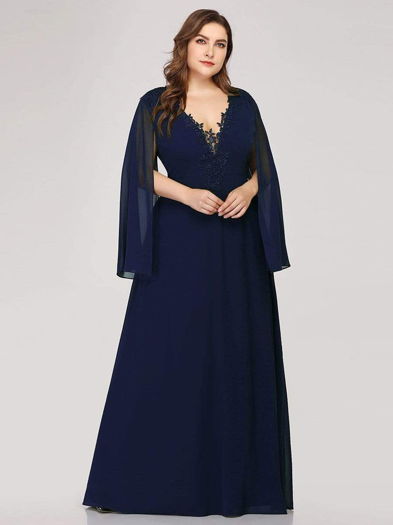 Plus Size V Neck Evening Dress With Long Sleeves-Navy Blue 4