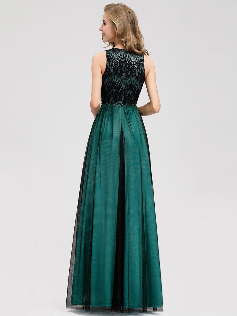 Women'S Elegant A-Line Lace Sleeveless Bridesmaid Dress-Dark Green 2