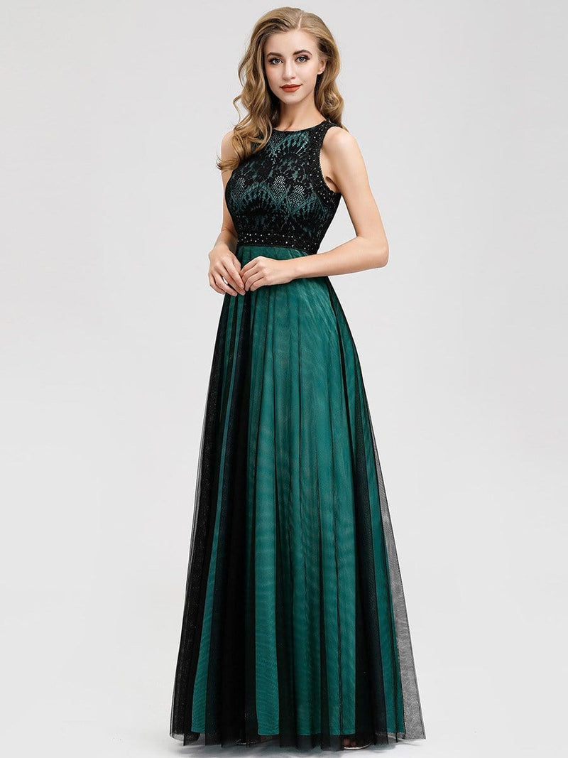 Women'S Elegant A-Line Lace Sleeveless Bridesmaid Dress-Dark Green 3