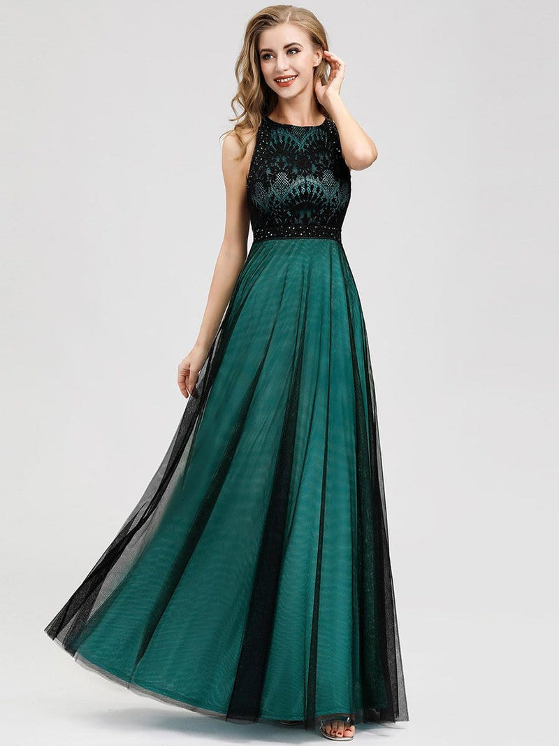 Women'S Elegant A-Line Lace Sleeveless Bridesmaid Dress-Dark Green 4