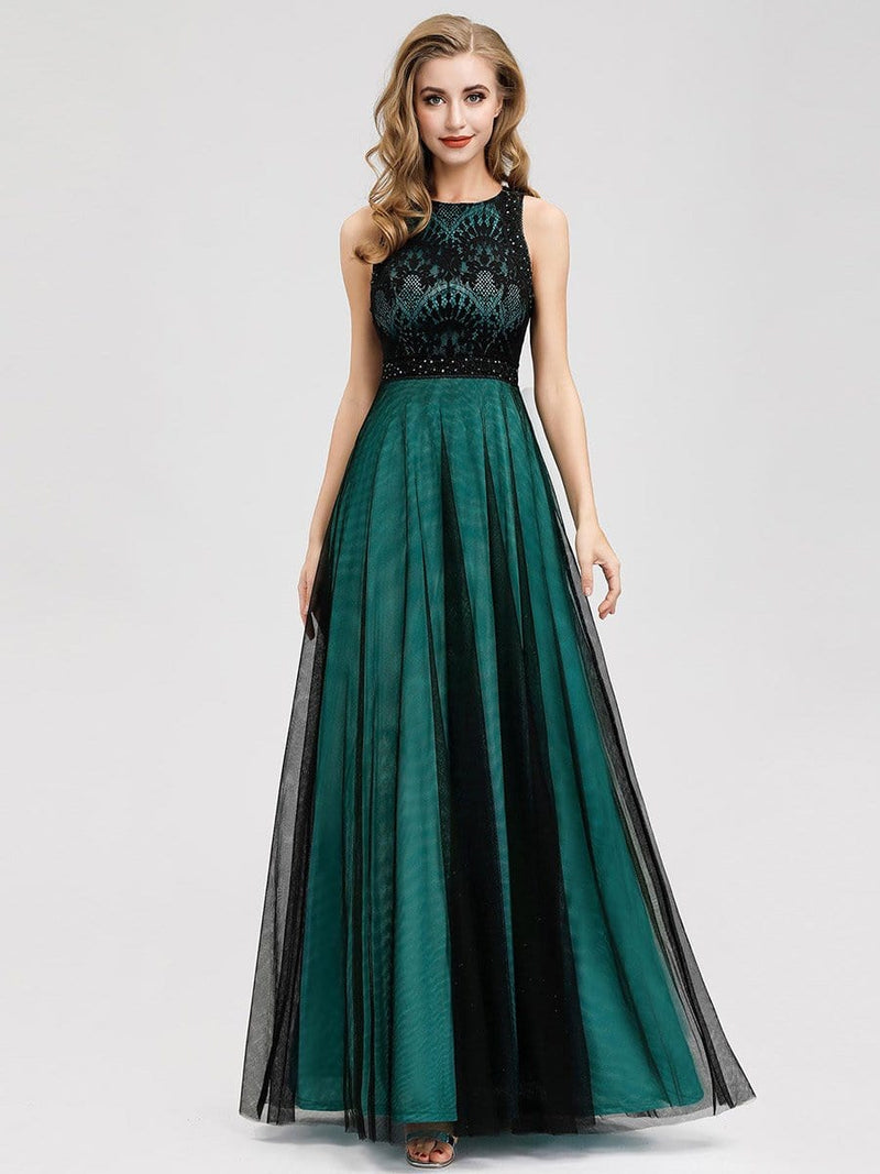 Women'S Elegant A-Line Lace Sleeveless Bridesmaid Dress-Dark Green 1