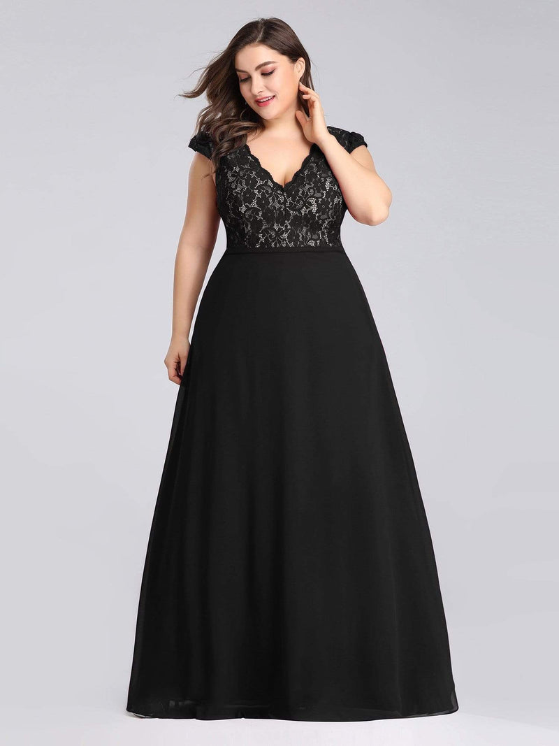 Plus Size Long Evening Dress With Lace Bust-Black 2