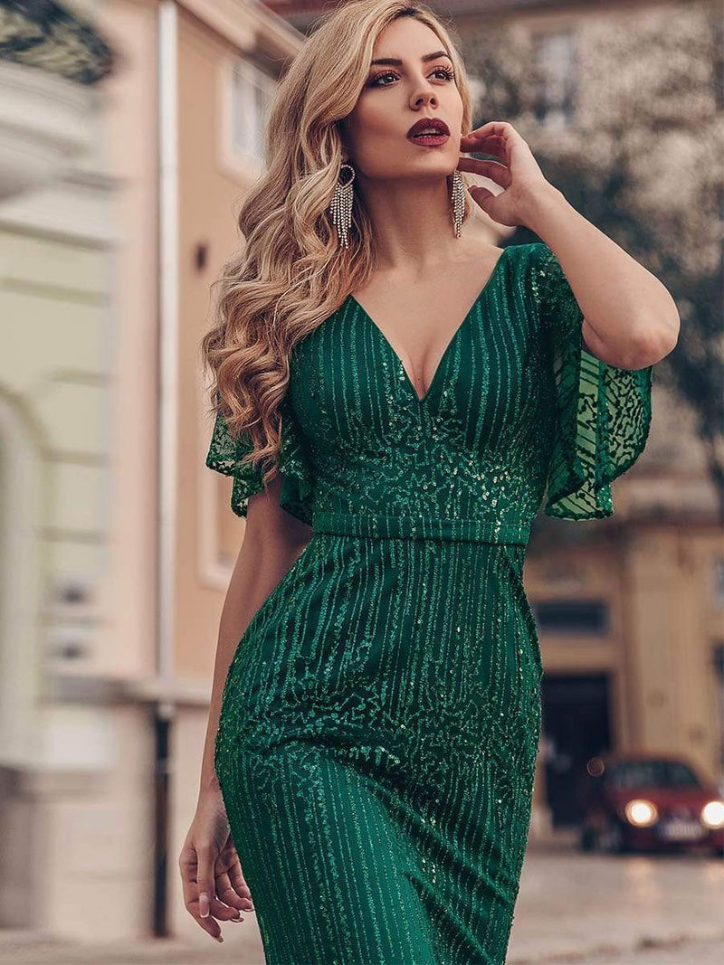 Deep V Neck Shiny Fishtail Evening Dress With Flutter Sleeves-Dark Green 3