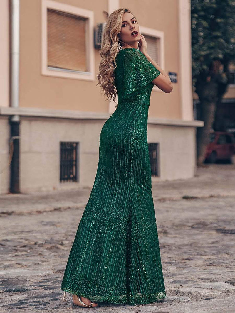 Deep V Neck Shiny Fishtail Evening Dress With Flutter Sleeves-Dark Green 2