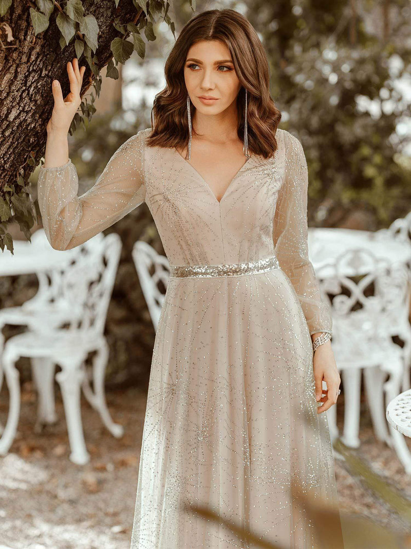 Elegant Deep V-Neck Lantern Long Sleeve Dresses-Grey 5