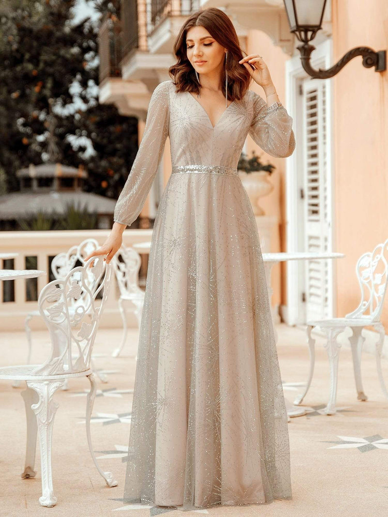 Elegant Deep V-Neck Lantern Long Sleeve Dresses-Grey 1