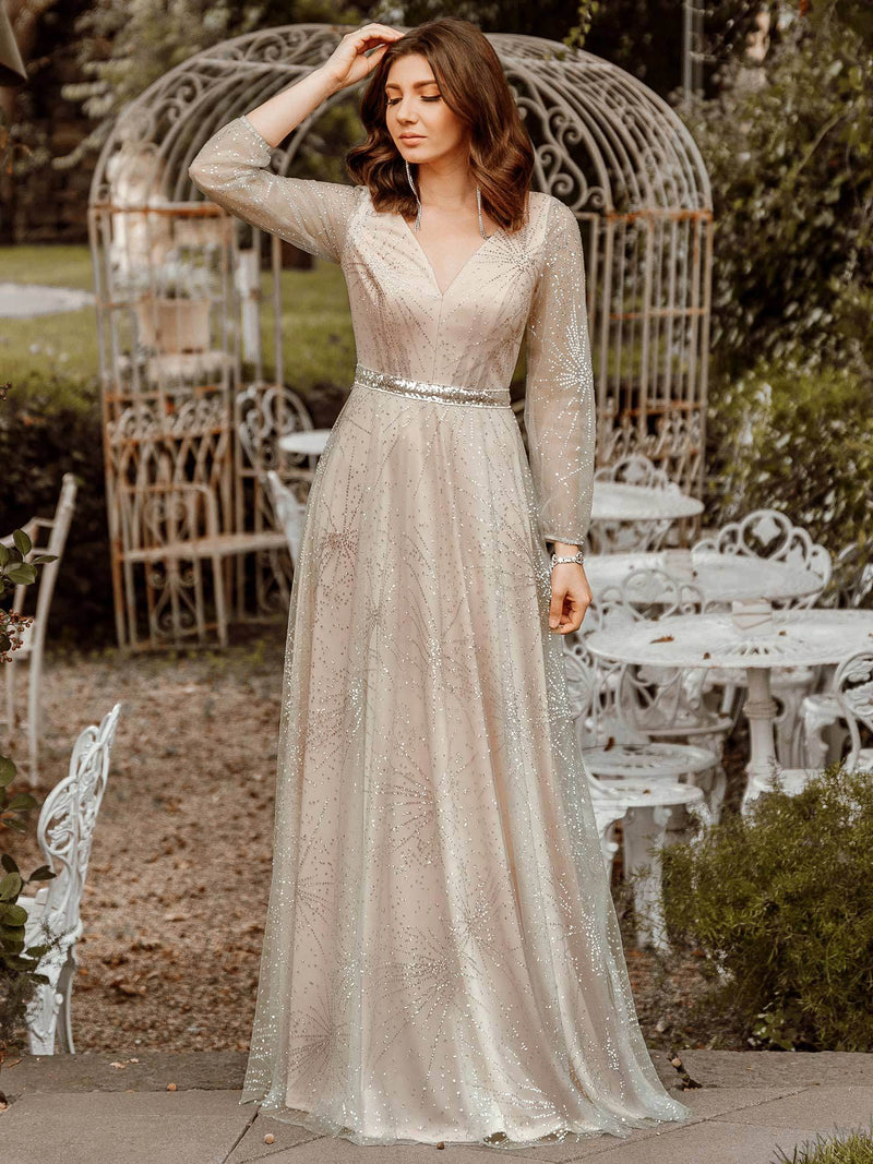 Elegant Deep V-Neck Lantern Long Sleeve Dresses-Grey 2