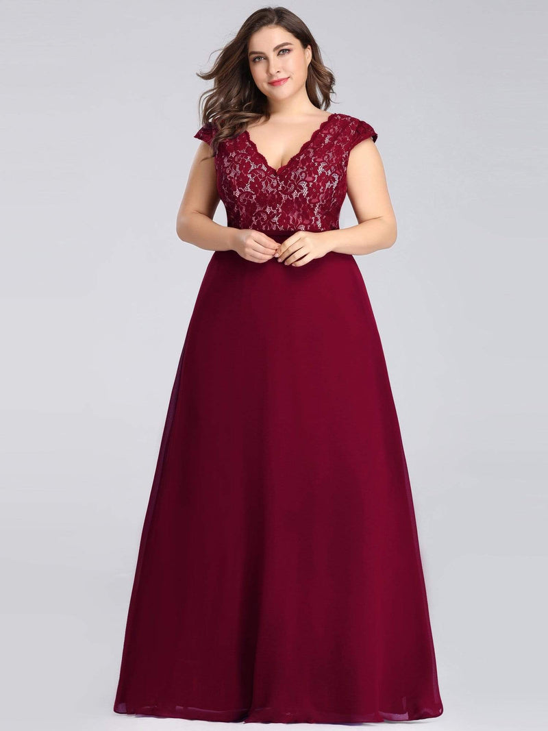 Plus Size Long Evening Dress With Lace Bust-Burgundy 3