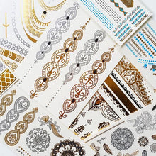 Load image into Gallery viewer, Bracelet gold and silver patterned small flash tattoos