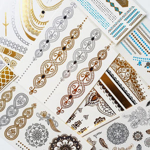 Bracelet gold and silver patterned small flash tattoos