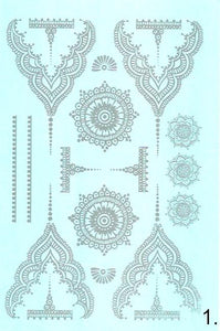 White henna flash tattoos - 4 styles available