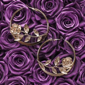 Belle gold rose hoop earrings