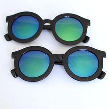 Load image into Gallery viewer, 'Throwin' Shade' black round sunglasses with coloured mirrored glasses