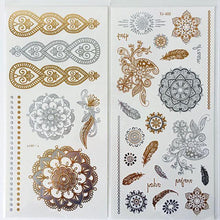 Load image into Gallery viewer, Feathers, flowers, suns gold - black & silver flash tattoos