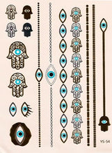 Load image into Gallery viewer, Hamsa and evil eye gold and turquoise flash tattoos