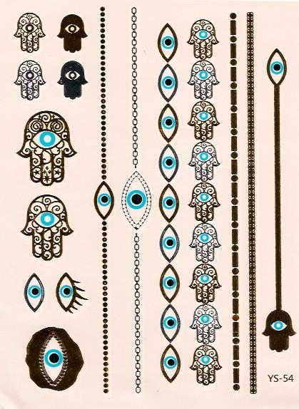 Hamsa and evil eye gold and turquoise flash tattoos