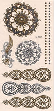 Load image into Gallery viewer, Flower and deco flash tattoos in gold and silver