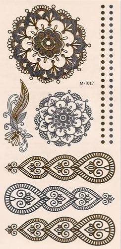Flower and deco flash tattoos in gold and silver
