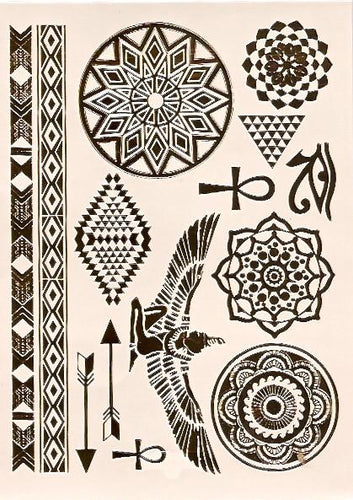 Egyptian inspired gold flash tattoos