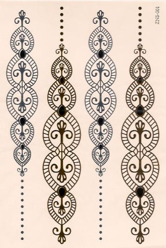 Chain gold, silver and black flash tattoos
