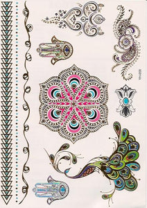 Colorful peacock hamsa golden flash tattoos
