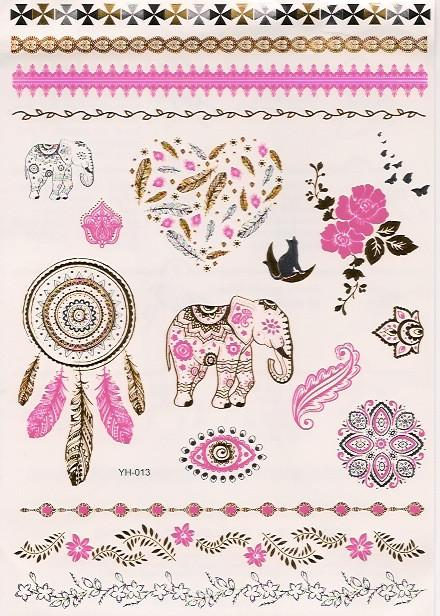 Pink gold and silver elephant flash tattoos
