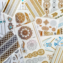 Load image into Gallery viewer, Hindu pattern gold and silver mini flash tattoos