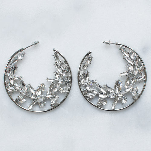 'Girl you extra' silver crystal hoop earrings
